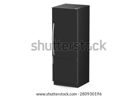 modern black refrigerator isolated on white background - stock photo