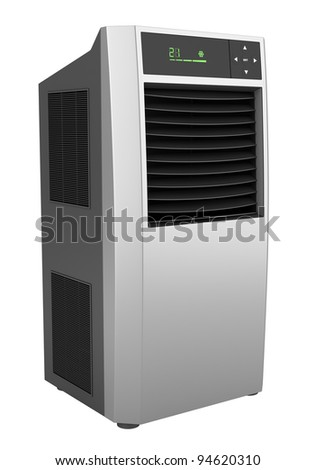 modern black standing air conditioner isolated on white background