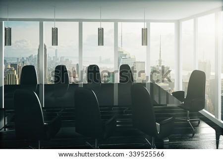 Modern black style conference room with city view 3D Render - stock photo