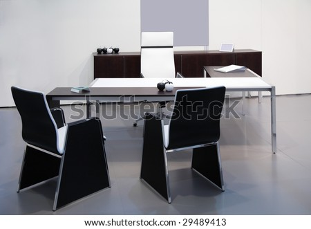 Modern black white office interior