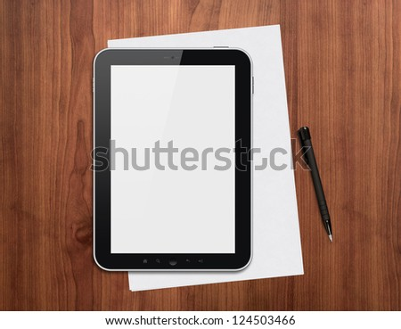 Modern blank digital tablet, papers and pen on a wooden desk. Top view. High quality detailed graphic collage.