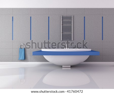 modern blue and gray bathroom - rendering - stock photo