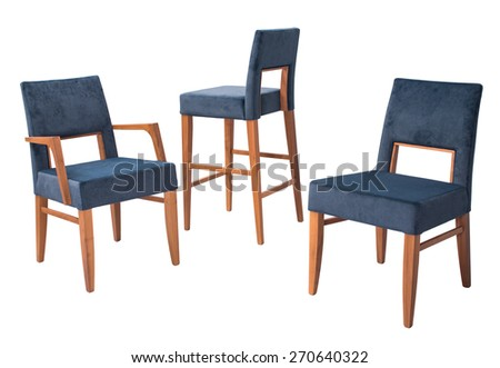 modern blue chairs with brown wooden legs isolated on a white background - stock photo