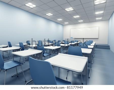 modern blue classroom. 3d rendering - stock photo