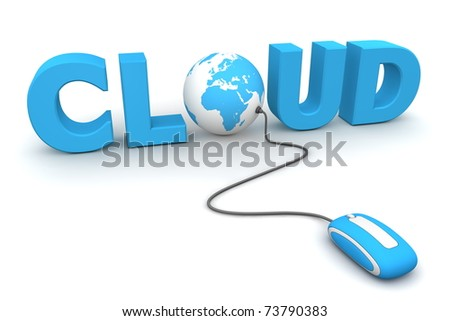 modern blue computer mouse connected to the blue word Cloud - letter O is replaced by a globe - stock photo