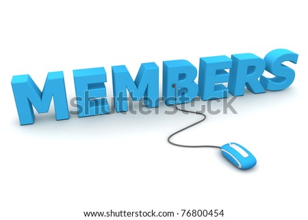 modern blue computer mouse connected to the blue word Members - stock photo