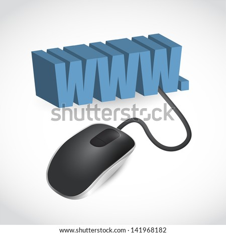 modern blue computer mouse connected to the blue word WWW