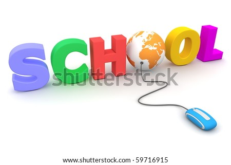 modern blue computer mouse connected to the colourful word School - letter O is replaced by an orange globe - stock photo