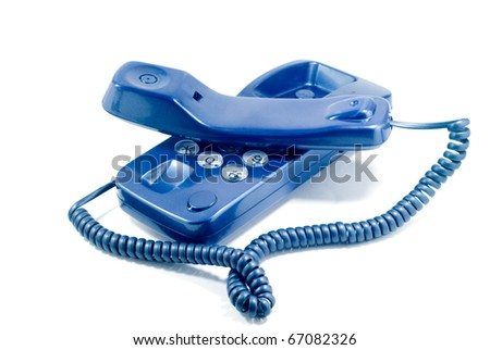 Modern blue home telephone. Isolated on  white. - stock photo