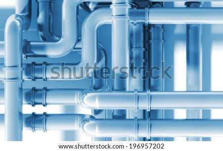 Modern blue industrial metal pipeline intersection. 3d render illustration - stock photo