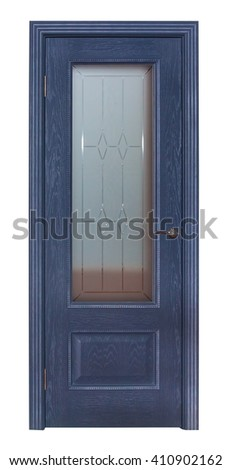Modern blue room door isolated on white background - stock photo