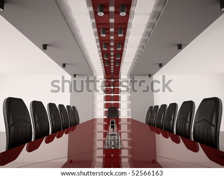 Modern boardroom with red table interior 3d render - stock photo