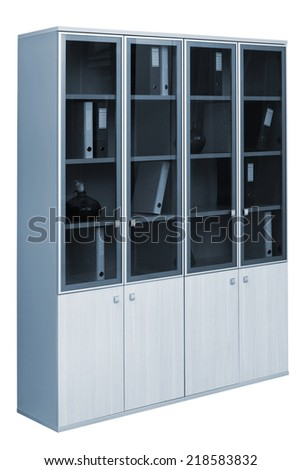 modern bookcase on a white background - stock photo