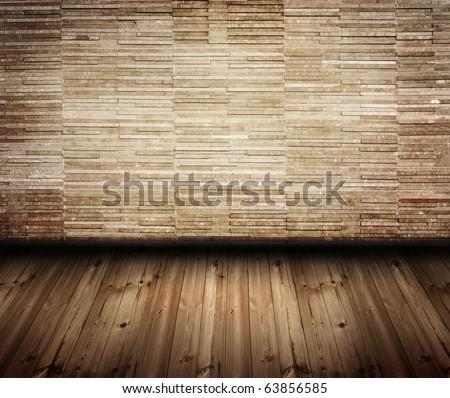 modern brick wall room - stock photo