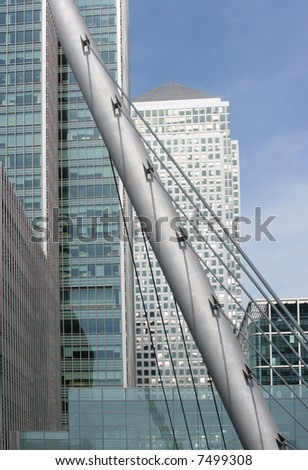 Modern bridge support at Canary Wharf - stock photo