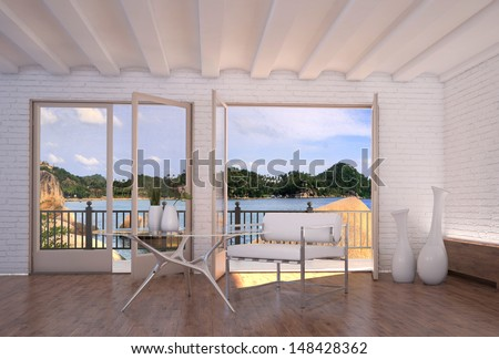 Modern bright apartment interior with nice seascape view - stock photo