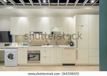 Modern, bright, clean, kitchen interior - stock photo