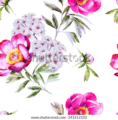 Modern bright floral blossom seamless pattern - stock photo