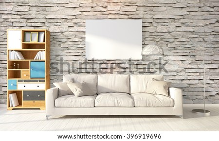 Modern bright interior . 3D rendering - stock photo