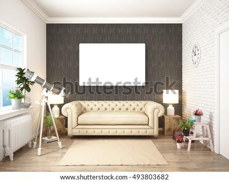 Mock Poster Hipster Bedroom 3d Illustration Stock