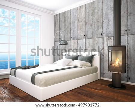 Sea View Living Room Beach House Stock Illustration