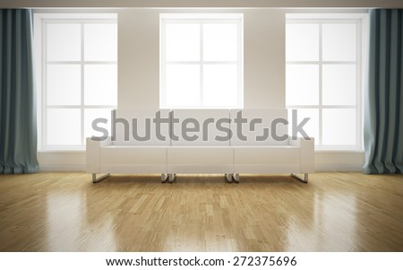 Modern bright interior with white sofa background. 3D rendering - stock photo