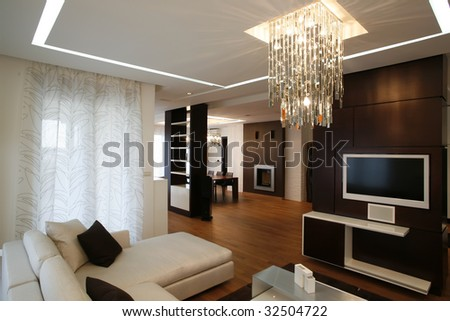modern bright living room - stock photo