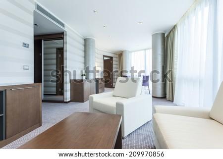 Modern bright living room interior - stock photo