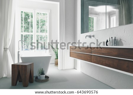 modern bright sunny white bathroom interior with wall mounted double vanity and mirror and bathtub