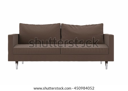 Modern brown fabric sofa isolated on white background , front view