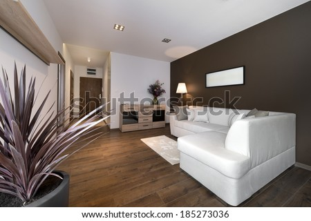 Modern brown interior design living room with flower  - stock photo
