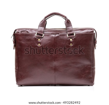 modern brown leather men casual or business bag isolated on white background