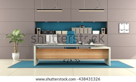Modern brown office with elegant desk and niche with objects - 3d rendering
