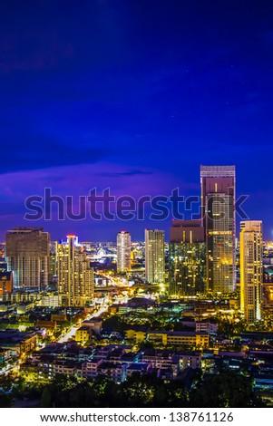 Modern building at riverside in twilight scene[Bangkok, Thailand] - stock photo