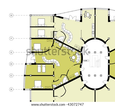 Modern Building CAD Architectural Apartment Plan Blueprint Drawing with apartment areas