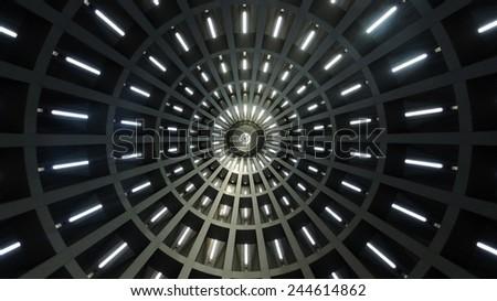 "Modern building ceiling geometry. ""Santuario della Madonna delle Lacrime"" - Modern church in Syracuse, Sicily, Italy. - stock photo"