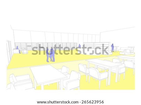 Modern Building 3D Outdoor Rendering, Sketch - stock photo