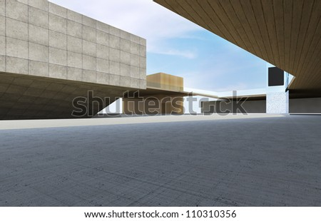 Modern building downtown, futuristic architecture. - stock photo