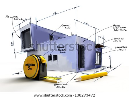 Modern building draft with notes and measurements by a pencil and a tape measure - stock photo