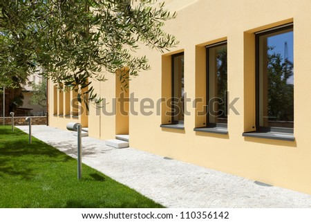 modern building garden - stock photo