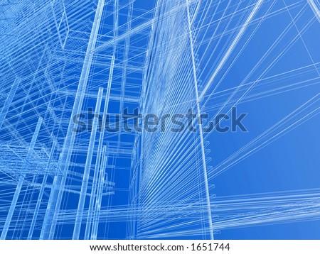 Modern building geometry wire mesh - stock photo