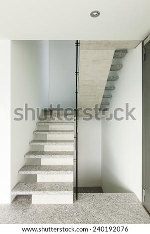 Modern building, granite staircase, interior  - stock photo