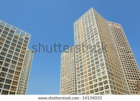 modern building in downtown of Beijing - stock photo