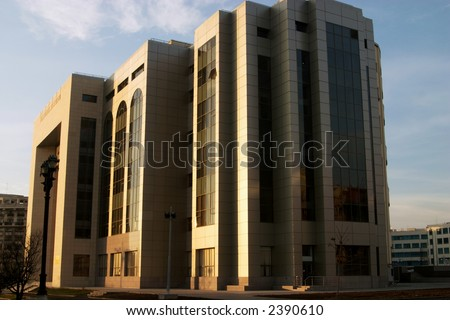 Modern building in golden colors in evening sun
