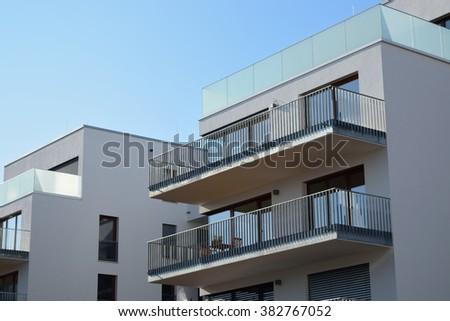 Modern building in suburban area - stock photo