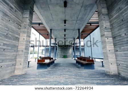 modern building indoor and chair - stock photo