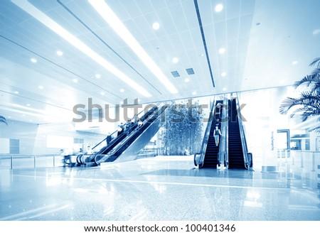 Modern building interior, luxurious lobby. - stock photo