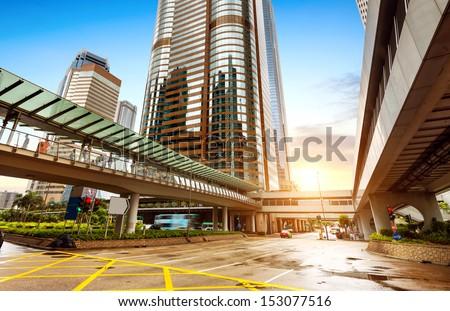 Modern building Landscape in Hong Kong - stock photo