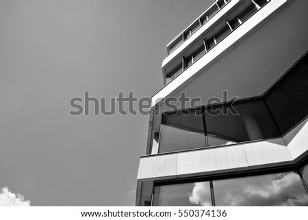 Modern building. Modern office building with facade of glass.Black and white