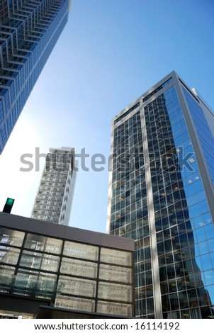 modern building reflection on a background of blue sky